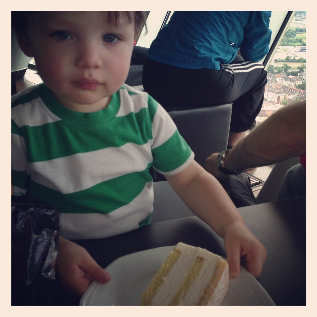 And the reason I do it all. My favorite thing about using instagram is that it's so easy to capture my kids. As I mentioned when I uploaded this photo, I took this picture because in this moment my son looked so grown up to me. He sat there patiently with this cake in front of him. Before I had a chance to really think about it, I grabbed my phone out of my pocket and snapped a photo. My thought was that I would talk about the popular cake and coffee culture in Germany. However, within about 10 seconds of this photo, my son grabbed a fistful of cake and shoved it in his mouth.