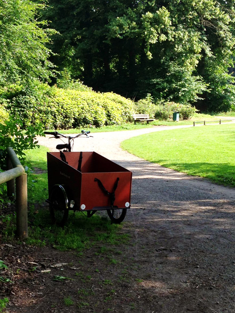 This popular Dutch bike holds the little ones. This was the only one we saw on the trail, parked while the family enjoyed a snack at the Grotto.
